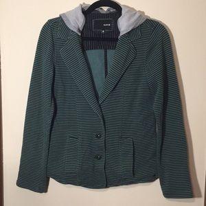 Striped hooded blazer